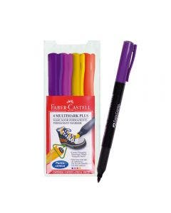 Faber-Castell Marcador Permanente Multimark - 4 Colores