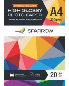 Papel Fotografico 230 Grs Glossy A4 X 20 Hojas Sparrow